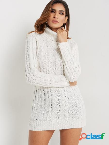 White cable knit high neck long sleeves sweater dress