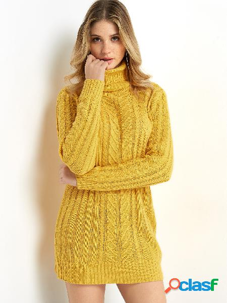 Yellow cable knit high neck long sleeves sweater dress