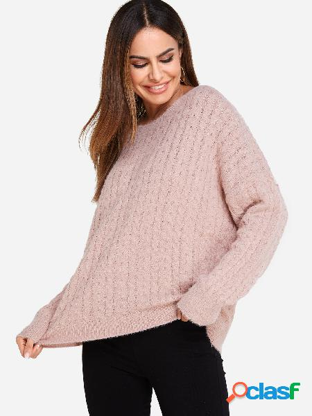 Casual pink plain crew neck dolman sleeves loose fit sweater
