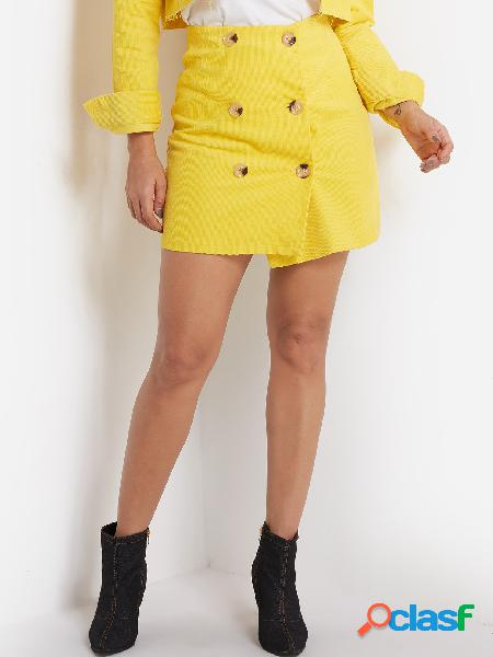 Casual yellow double breasted design corduroy skirts