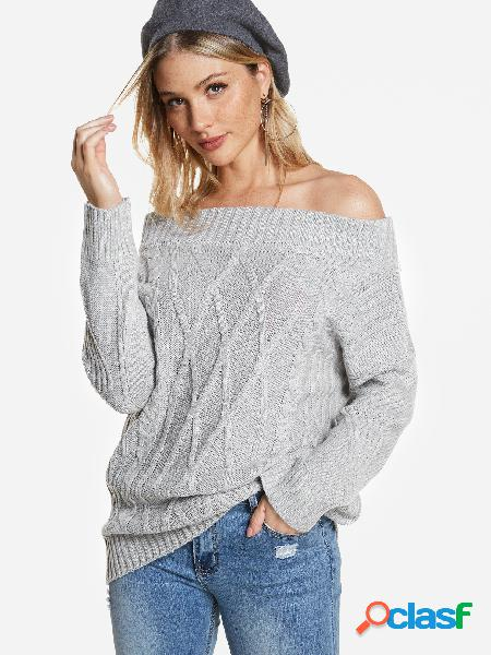 Grey off the shoulder long sleeves cable knit sweater