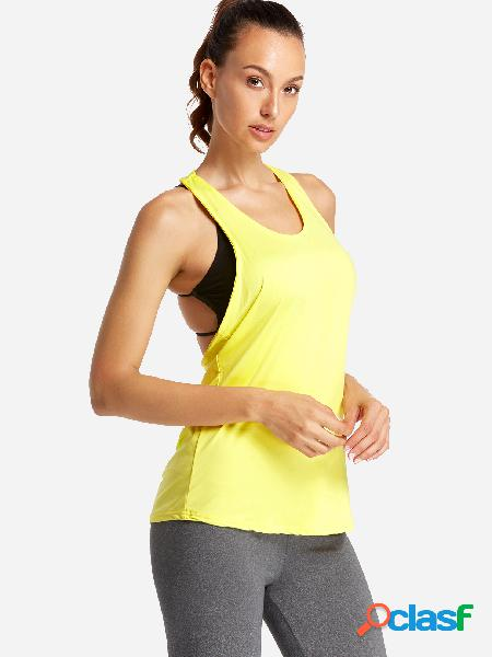 Yellow backless design letter scoop neck sport camis