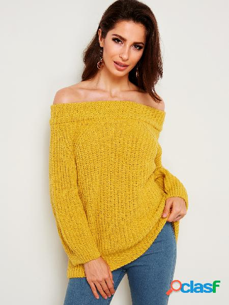 Yellow plain off the shoulder long sleeves sweaters