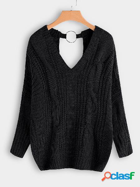 Black backless design v-neck long sleeves cable knit sweaters