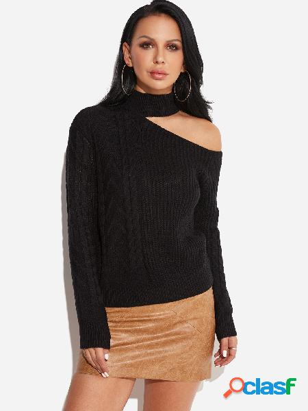 Black cable knit plain one shoulder long sleeves sweaters