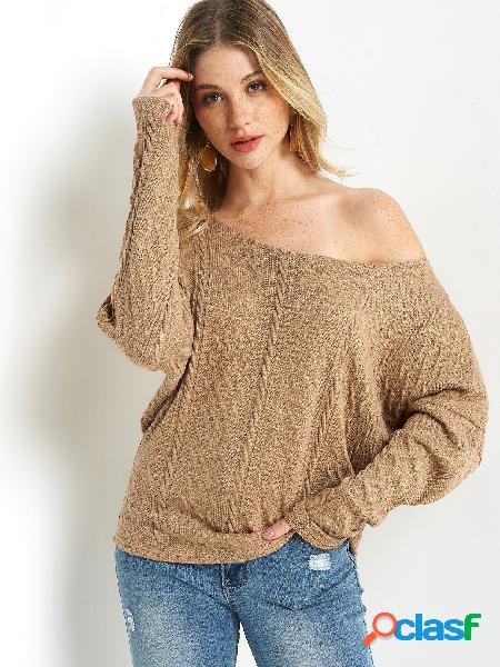 Casual beige plain round neck long sleeves sweaters