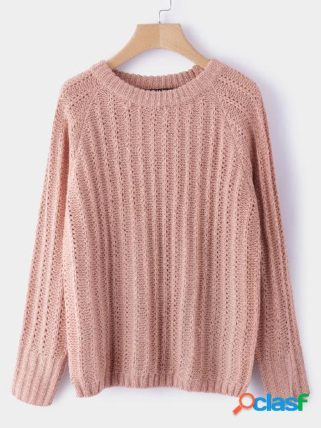 Light pink cable knit round neck long sleeves sweater