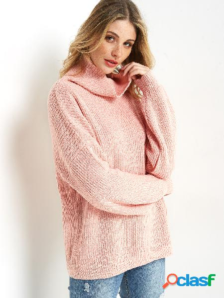 Pink cable knit high neck lantern sleeves sweater