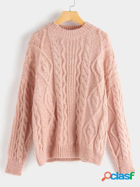 Pink round neck long sleeves cable knit sweater