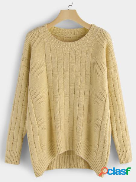 Yellow plain crew neck long sleeves loose fit sweaters
