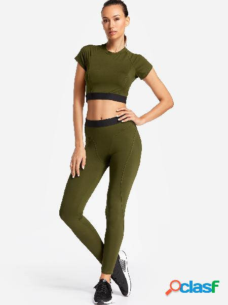 Army green plain crew neck short sleeves high-waisted tracksuit