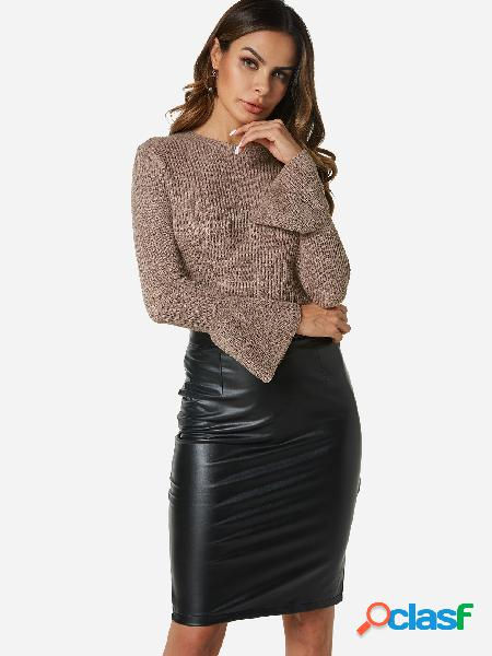 Beige round neck long bell sleeves sweater
