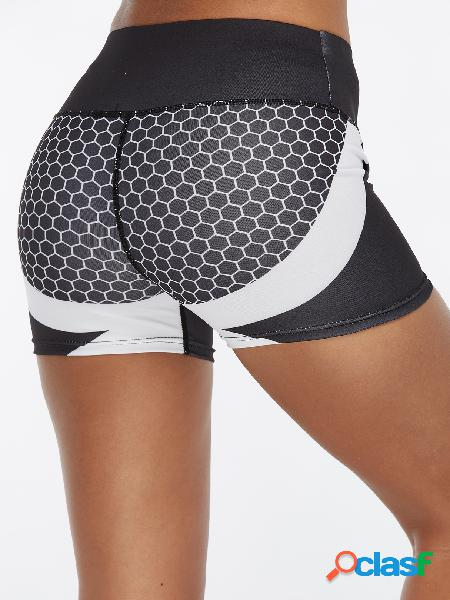 Black geometrical pattern high-waisted active bottoms