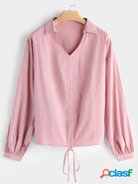 Pink self-tie design plain classic collar long sleeves blouses