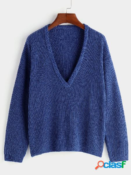 Blue plain deep v neck long sleeves loose fit sweaters