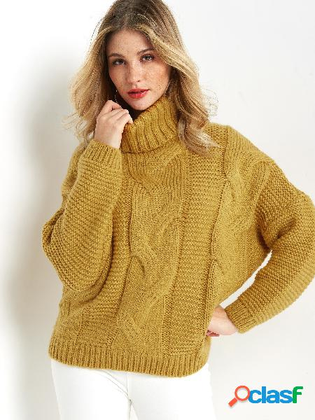 Yellow plain roll neck long sleeves loose fit sweater
