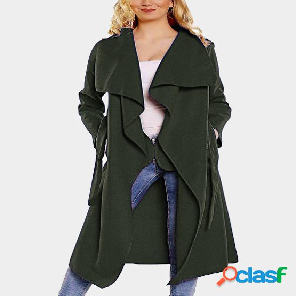 Green side pockets design lapel collar long sleeves self-tie waist trench coat