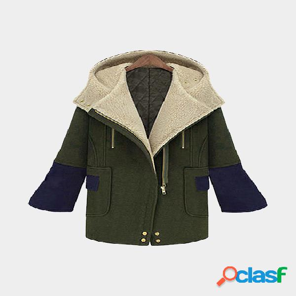 Army green collage hooded zipper thicken casual outerwear