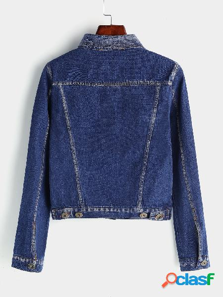 Blue classic collar short denim jacket with two chest pockets