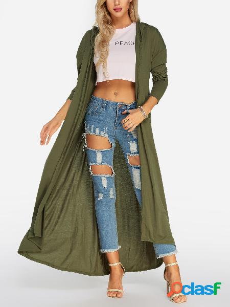 Army green curved hem hooded cardigans