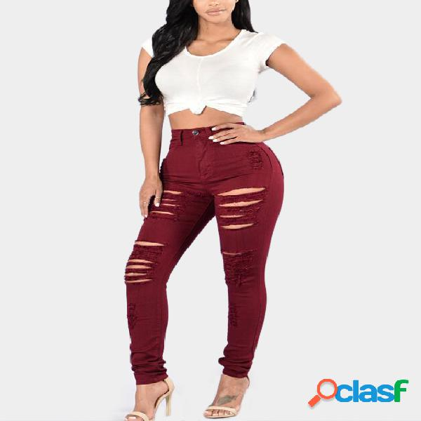 Red ripped details high waist bodycon jeans