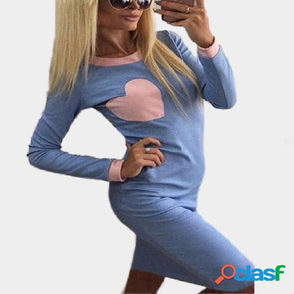 Baby blue crew neck long sleeves stitching heart dress