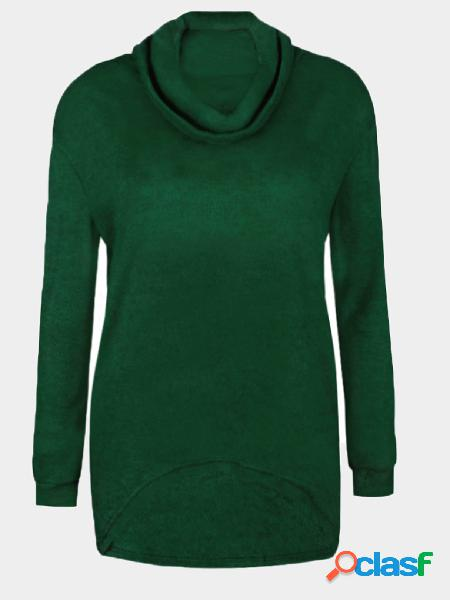 Green chimney collar long sleeves sweaters