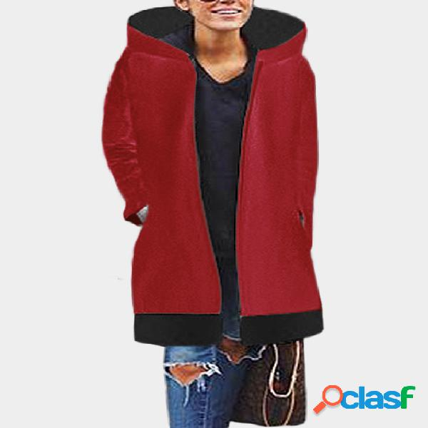Red hooded design long sleeves stitching jumper