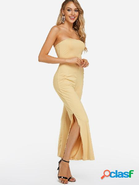Apricot slit design tube top sleeveless high-waisted jumpsuits