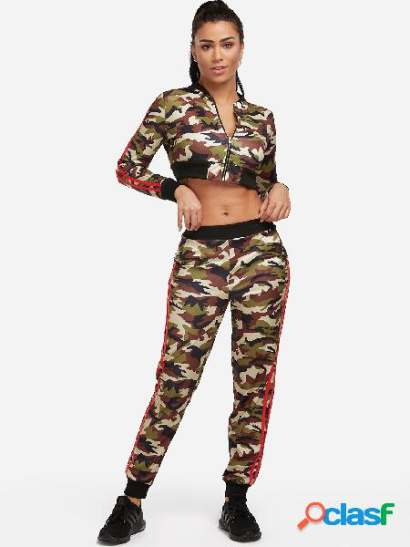 Army green side pockets camouflage long sleeves active tracksuit