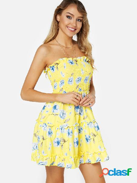 Yellow backless design floral print off the shoulder sleeveless dress