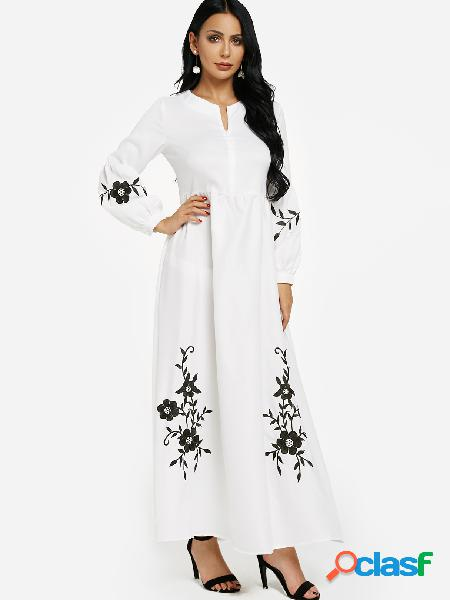 White floral embroidered puff sleeves zipper front maxi dress