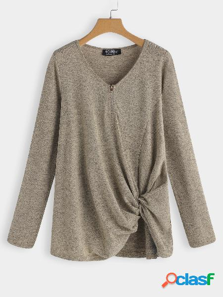 Apricot knotted design plain v-neck long sleeves t-shirts