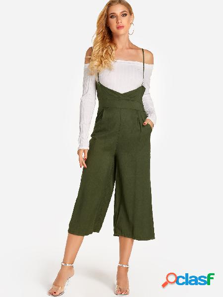 Army green side pockets jumpsuit