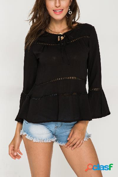 Black hollow out tie-up round neck bell sleeves blouse