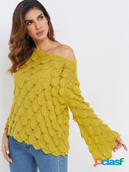 Fashion yellow fish scale design hollow details round neck bell sleeves t-shirts
