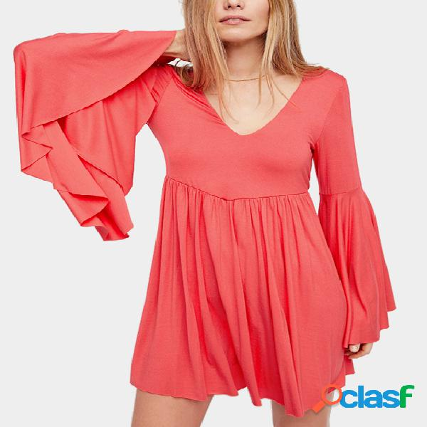 Pink v-neck long bell sleeves hollowout back mini dress
