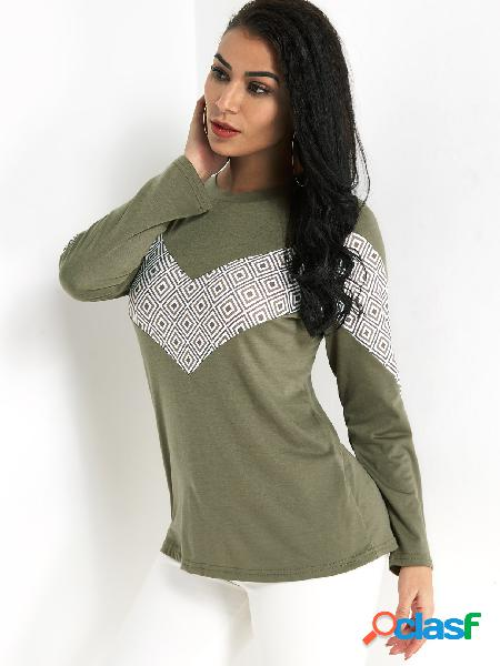 Army green color block round neck long sleeves t-shrit