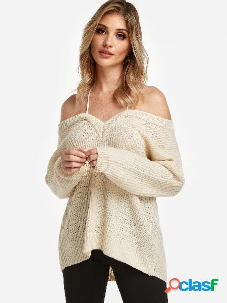 Beige cable knit plain halter long sleeves sweaters