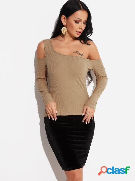 Khaki one shoulder long sleeves knitted top