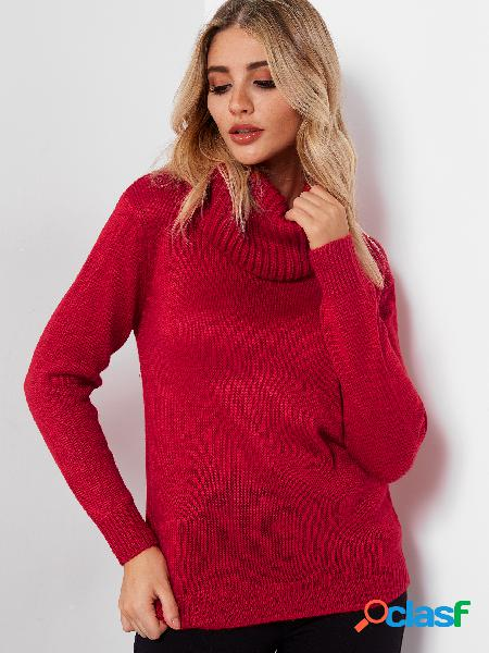Red turtleneck long sleeves loose fit sweaters