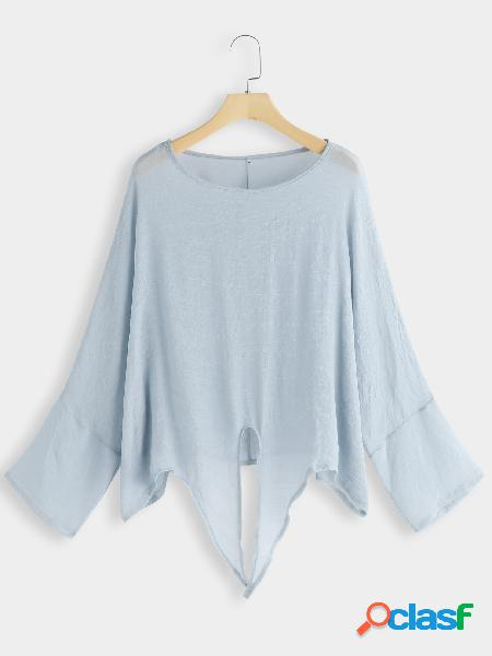 Light blue knot-front round neck tee
