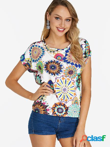 White floral print round neck short sleeves t-shirt