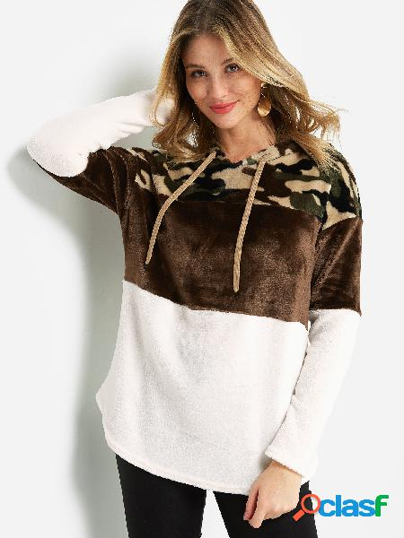 Camo color block long sleeved fluffy hoodie