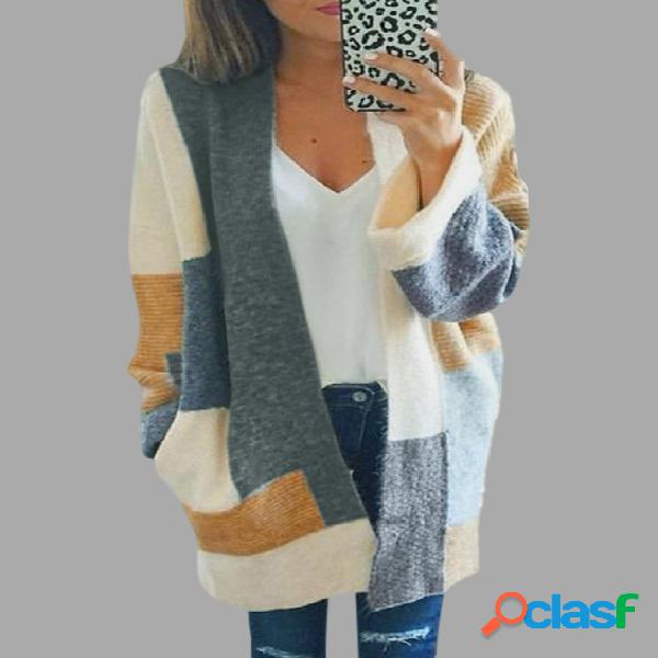 Casual knitted color block design cardigans