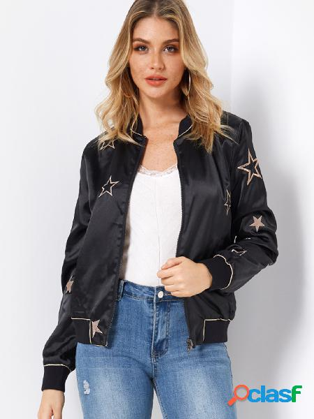 Star embroidery pattern long sleeves side pockets jacket