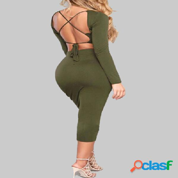 Army green backless design long sleeves crop top & midi skirts