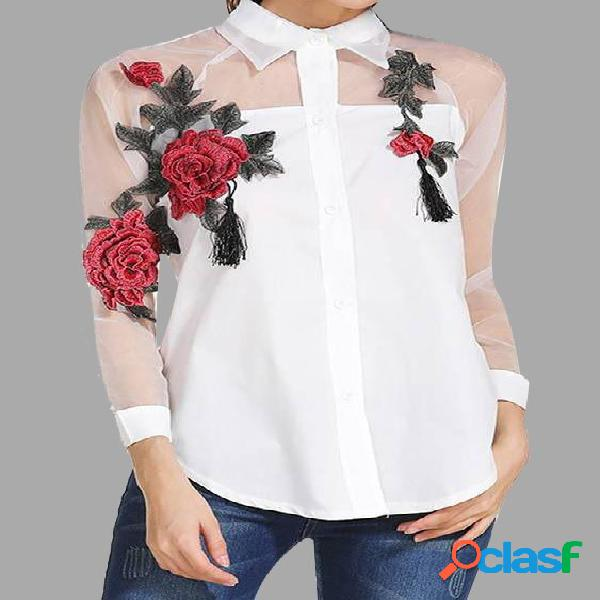 White rose embroidery mesh details long sleeves blouse