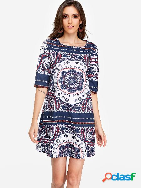 Floral print round neck half sleeves vacation a line dress