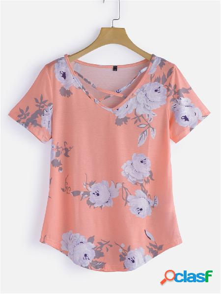 Random floral print round neck strappy cross front top